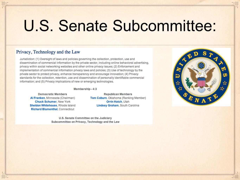 U.S. Senate Subcommittee: