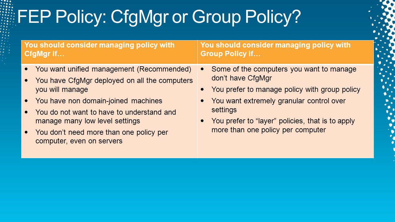 You should consider managing policy with CfgMgr if… You should consider managing policy with Group Policy if…  You want unified management (Recommended)  You have CfgMgr deployed on all the computers you will manage  You have non domain-joined machines  You do not want to have to understand and manage many low level settings  You don't need more than one policy per computer, even on servers  Some of the computers you want to manage don't have CfgMgr  You prefer to manage policy with group policy  You want extremely granular control over settings  You prefer to layer policies, that is to apply more than one policy per computer