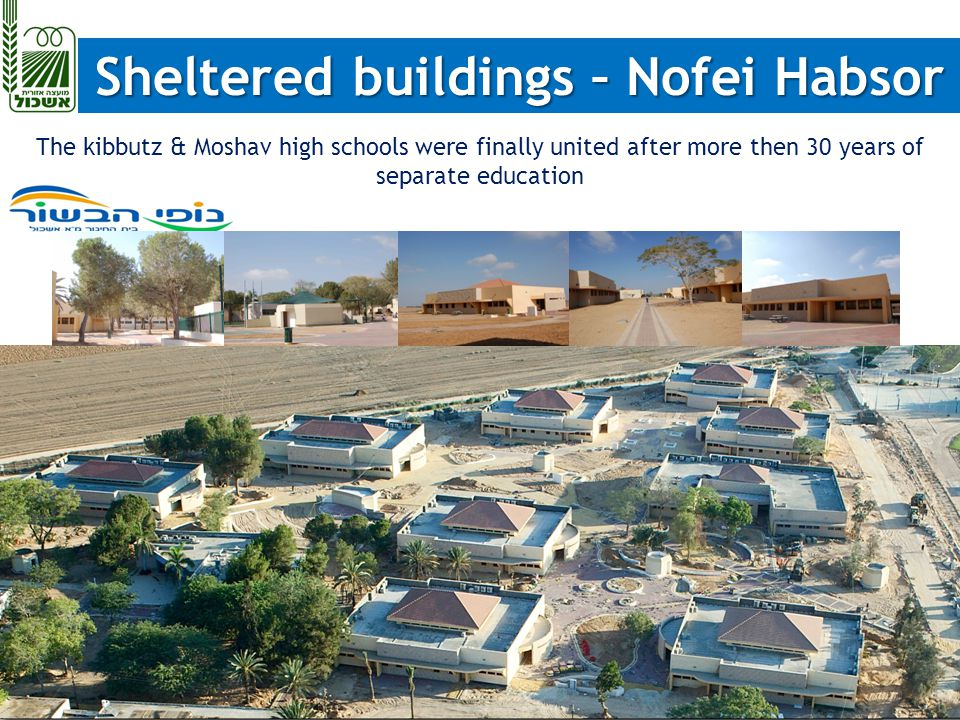 Sheltered buildings – Nofei Habsor Sheltered buildings – Nofei Habsor The kibbutz & Moshav high schools were finally united after more then 30 years of separate education