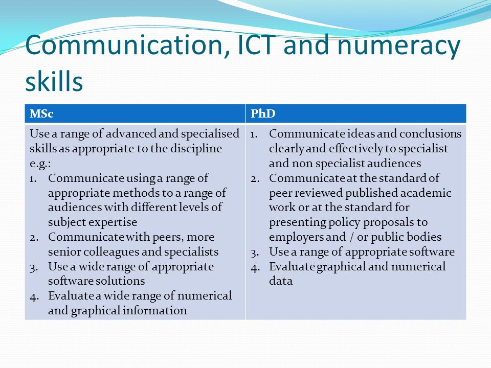 Communication, ICT and numeracy skills MScPhD Use a range of advanced and specialised skills as appropriate to the discipline e.g.: 1.Communicate usin