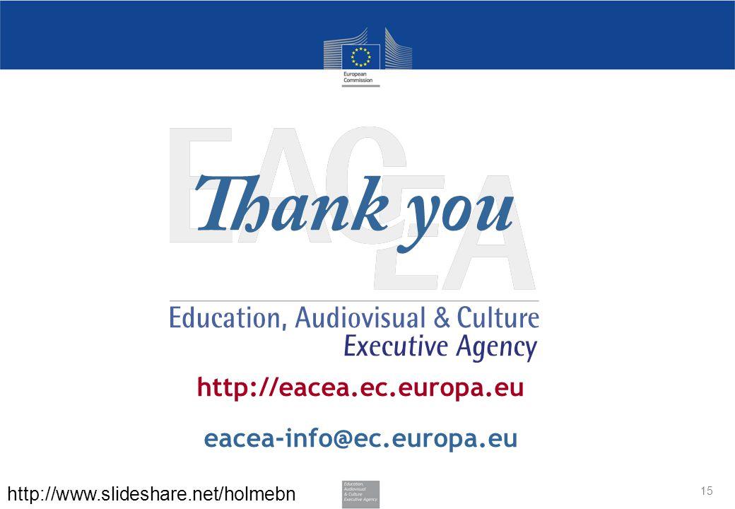 http://eacea.ec.europa.eu eacea-info@ec.europa.eu 15 http://www.slideshare.net/holmebn