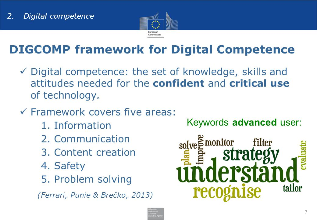 7 Digital competence: the set of knowledge, skills and attitudes needed for the confident and critical use of technology.