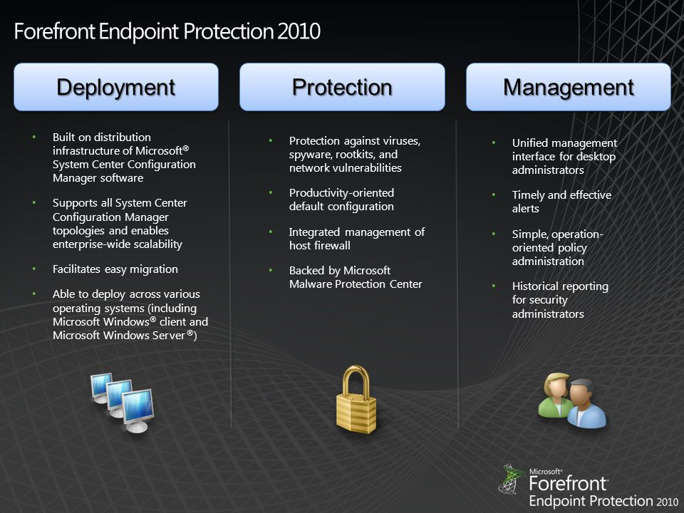Forefront Endpoint Protection 2010 Built on distribution infrastructure of Microsoft ® System Center Configuration Manager software Supports all System Center Configuration Manager topologies and enables enterprise-wide scalability Facilitates easy migration Able to deploy across various operating systems (including Microsoft Windows ® client and Microsoft Windows Server ® ) Protection against viruses, spyware, rootkits, and network vulnerabilities Productivity-oriented default configuration Integrated management of host firewall Backed by Microsoft Malware Protection Center Unified management interface for desktop administrators Timely and effective alerts Simple, operation- oriented policy administration Historical reporting for security administrators DeploymentDeploymentProtectionProtectionManagementManagement
