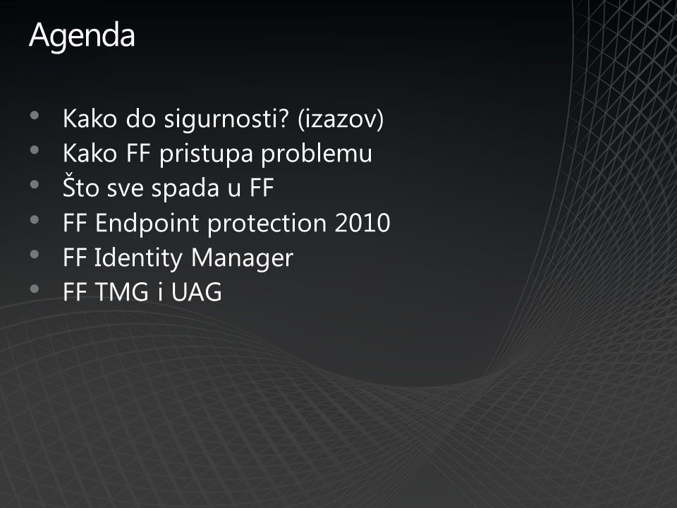 IT admin scenario Credential Management Group Management User Management Policy Management Create workflow to automatically issue passwords and smart cards to new users Design policy to automatically create departmental security groups Author policy to require HR approval for job title change Automatically provision new employees with identity, mailbox, and credentials Centralized management Automatic policy enforcement across systems Management of role changes & retirements Generation and delivery of initial one-time use password Integration of smart card enrollment with provisioning Automatic management of group membership Secure access to departmental resources, with audit trail Example Scenario FIM Advantages