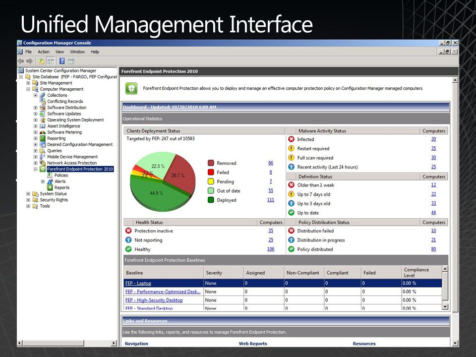 Unified Management Interface Simplified operations for client management and security through a unified console Centralized console for policy management and monitoring Enterprise-wide visibility into client security Quick identification and remediation of client security issues