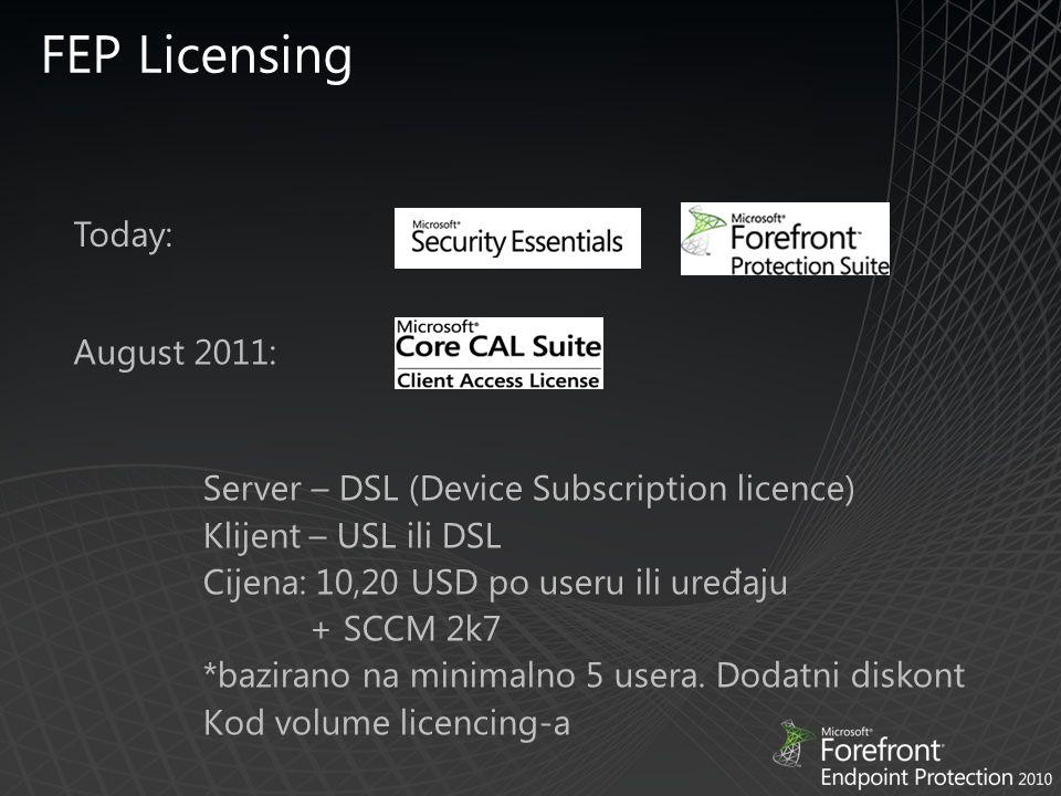 Today: August 2011: Server – DSL (Device Subscription licence) Klijent – USL ili DSL Cijena: 10,20 USD po useru ili uređaju + SCCM 2k7 *bazirano na minimalno 5 usera.