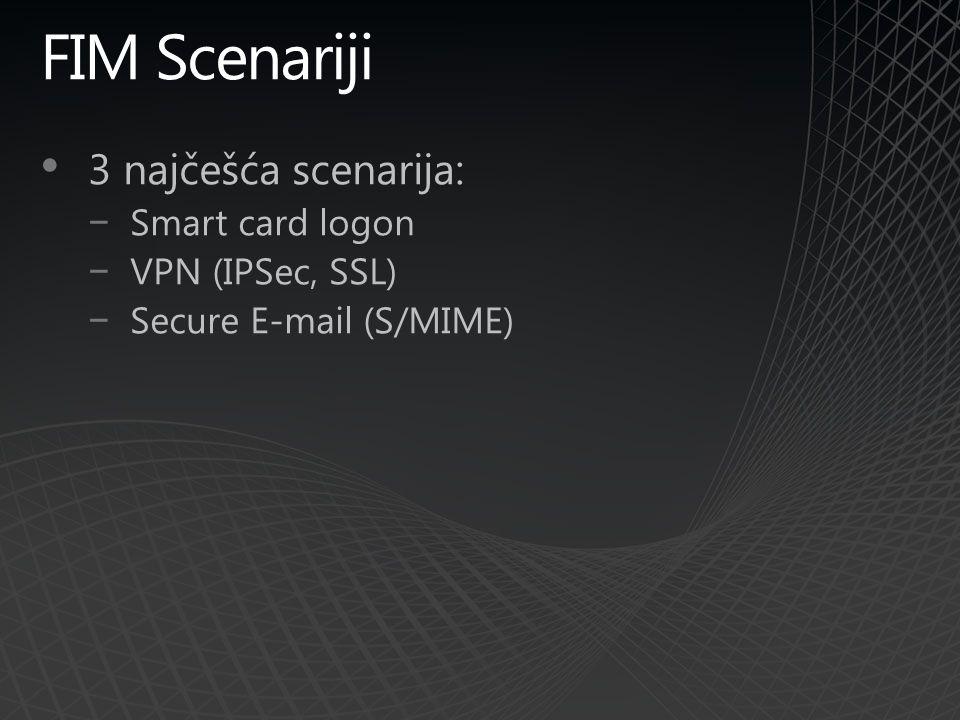 FIM Scenariji 3 najčešća scenarija: −Smart card logon −VPN (IPSec, SSL) −Secure E-mail (S/MIME)