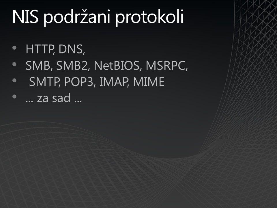 NIS podržani protokoli HTTP, DNS, SMB, SMB2, NetBIOS, MSRPC, SMTP, POP3, IMAP, MIME... za sad...