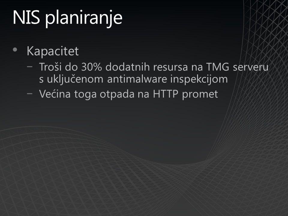 NIS planiranje Kapacitet −Troši do 30% dodatnih resursa na TMG serveru s uključenom antimalware inspekcijom −Većina toga otpada na HTTP promet