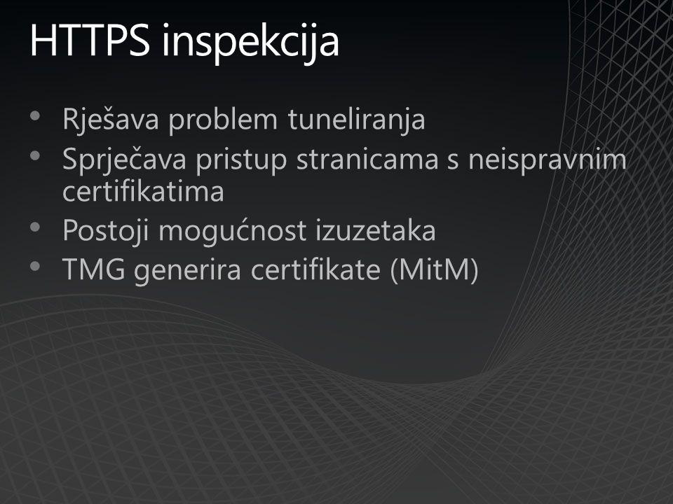 HTTPS inspekcija Rješava problem tuneliranja Sprječava pristup stranicama s neispravnim certifikatima Postoji mogućnost izuzetaka TMG generira certifikate (MitM)