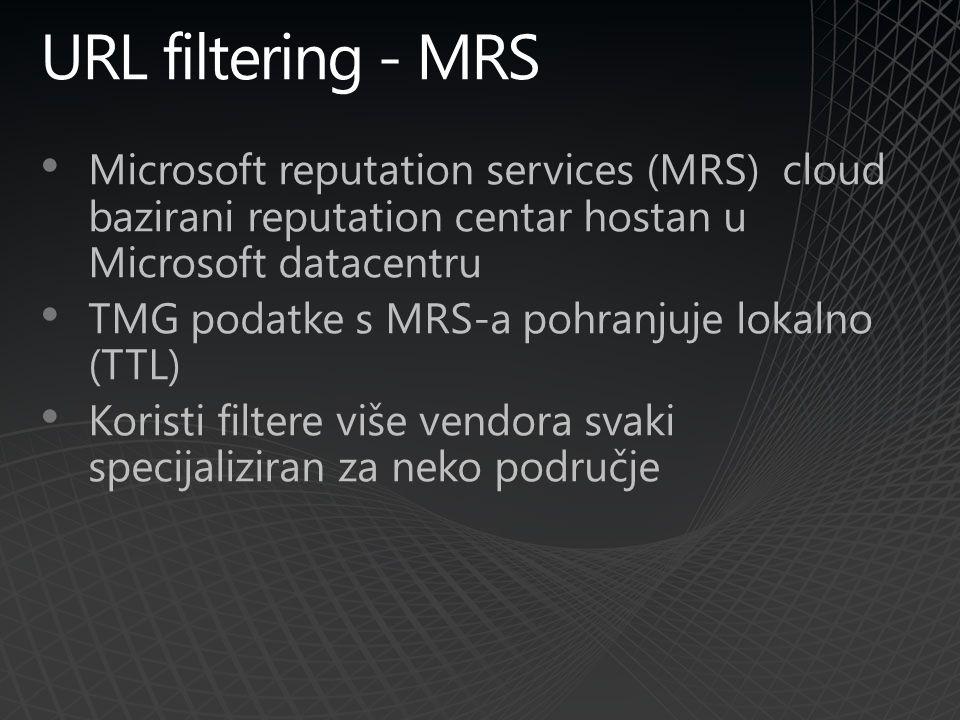 URL filtering - MRS Microsoft reputation services (MRS) cloud bazirani reputation centar hostan u Microsoft datacentru TMG podatke s MRS-a pohranjuje lokalno (TTL) Koristi filtere više vendora svaki specijaliziran za neko područje
