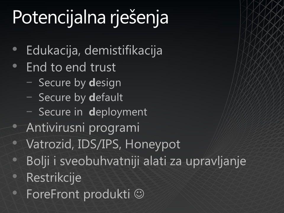 Potencijalna rješenja Edukacija, demistifikacija End to end trust −Secure by design −Secure by default −Secure in deployment Antivirusni programi Vatrozid, IDS/IPS, Honeypot Bolji i sveobuhvatniji alati za upravljanje Restrikcije ForeFront produkti