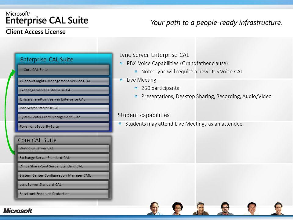 Enterprise CAL Suite Core CAL Suite Windows Rights Management Services CAL Exchange Server Enterprise CAL Office SharePoint Server Enterprise CAL Lync