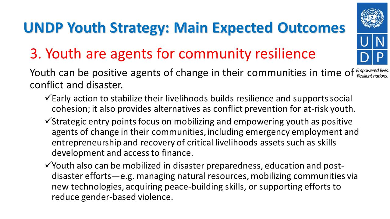 UNDP Youth Strategy: Main Expected Outcomes 3.