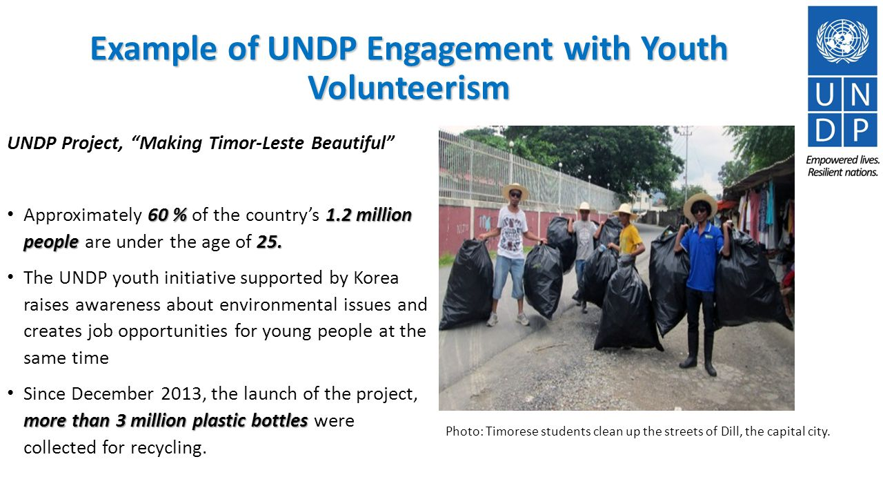 UNDP Project, Making Timor-Leste Beautiful 60 % 1.2 million people 25.
