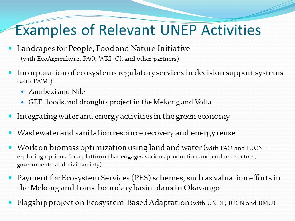 Examples of Relevant UNEP Activities Landcapes for People, Food and Nature Initiative (with EcoAgriculture, FAO, WRI, CI, and other partners) Incorpor