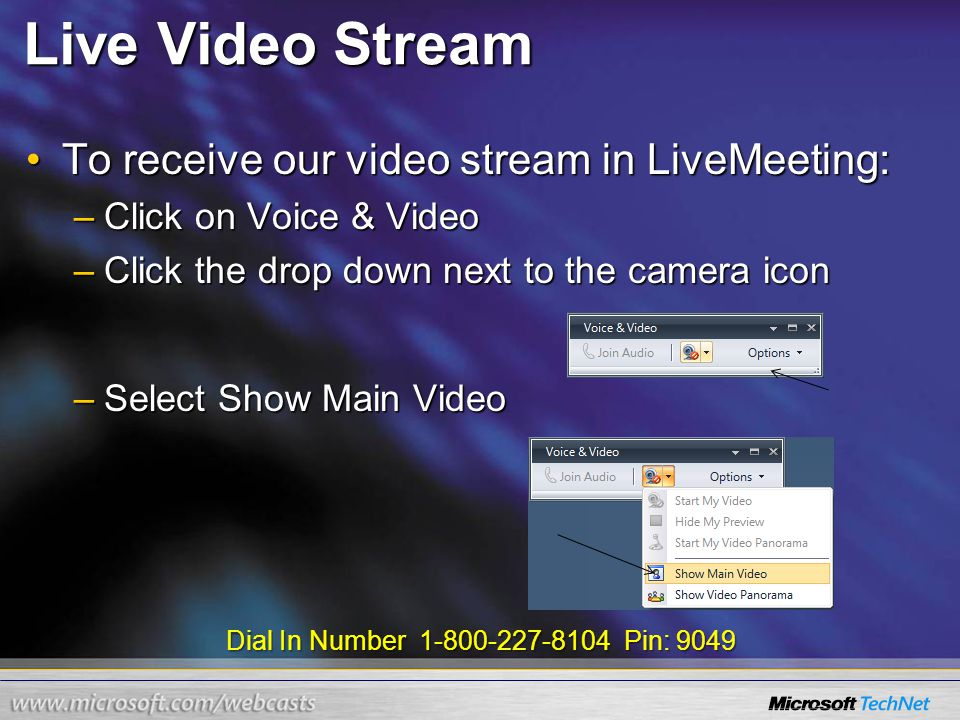 Dial In Number 1-800-227-8104 Pin: 9049 Live Video Stream To receive our video stream in LiveMeeting:To receive our video stream in LiveMeeting: –Clic