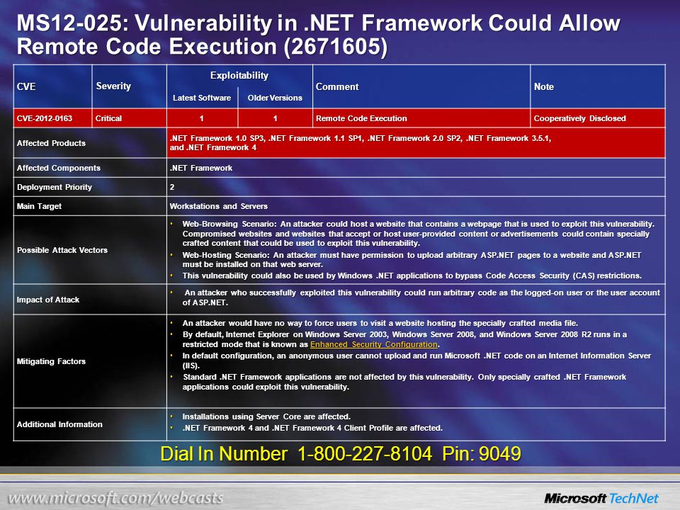 Dial In Number 1-800-227-8104 Pin: 9049 MS12-025: Vulnerability in.NET Framework Could Allow Remote Code Execution (2671605) CVESeverity Exploitability CommentNote Latest Software Older Versions CVE-2012-0163Critical11 Remote Code Execution Cooperatively Disclosed Affected Products.NET Framework 1.0 SP3,.NET Framework 1.1 SP1,.NET Framework 2.0 SP2,.NET Framework 3.5.1, and.NET Framework 4 Affected Components.NET Framework Deployment Priority 2 Main Target Workstations and Servers Possible Attack Vectors Web-Browsing Scenario: An attacker could host a website that contains a webpage that is used to exploit this vulnerability.