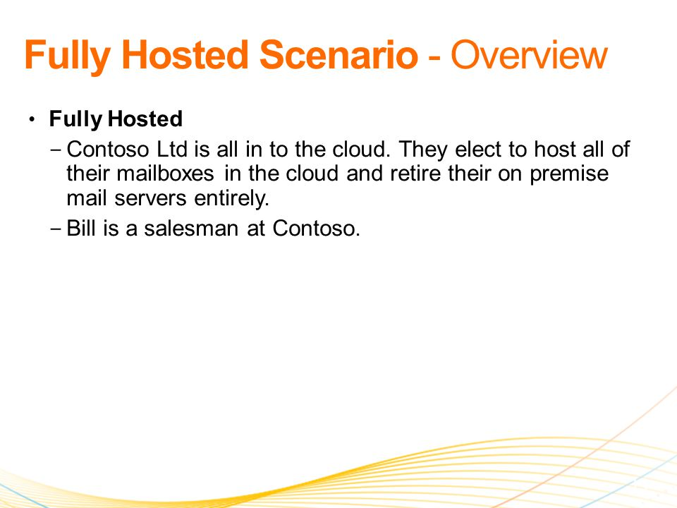 Fully Hosted − Contoso Ltd is all in to the cloud.