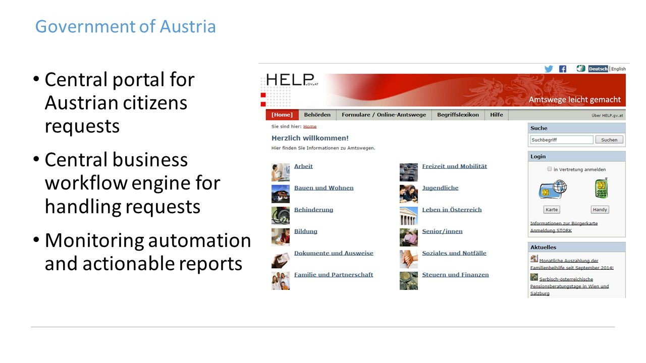 Government of Austria Central portal for Austrian citizens requests Central business workflow engine for handling requests Monitoring automation and actionable reports
