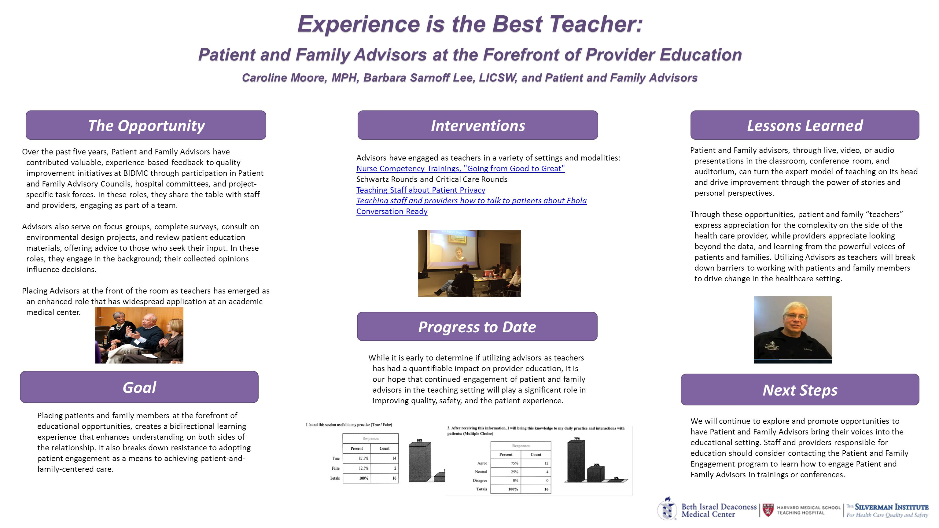 Experience is the Best Teacher: Patient and Family Advisors at the Forefront of Provider Education Caroline Moore, MPH, Barbara Sarnoff Lee, LICSW, and Patient and Family Advisors Experience is the Best Teacher: Patient and Family Advisors at the Forefront of Provider Education Caroline Moore, MPH, Barbara Sarnoff Lee, LICSW, and Patient and Family Advisors Goal Lessons Learned Over the past five years, Patient and Family Advisors have contributed valuable, experience-based feedback to quality improvement initiatives at BIDMC through participation in Patient and Family Advisory Councils, hospital committees, and project- specific task forces.