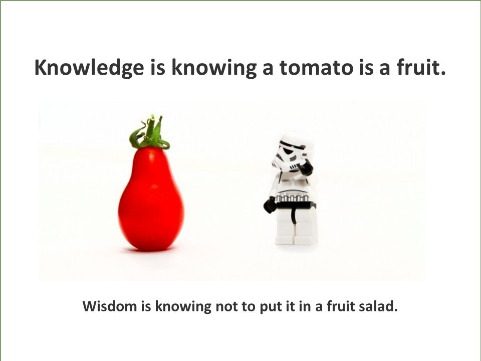 Knowledge is knowing a tomato is a fruit. Wisdom is knowing not to put it in a fruit salad.