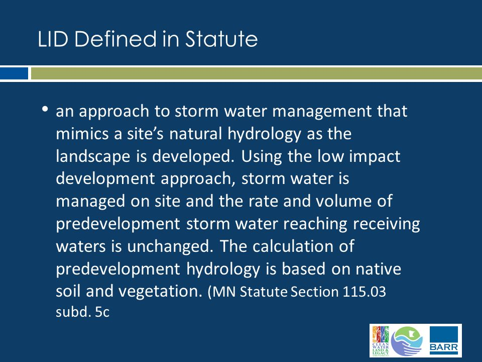 an approach to storm water management that mimics a site's natural hydrology as the landscape is developed.