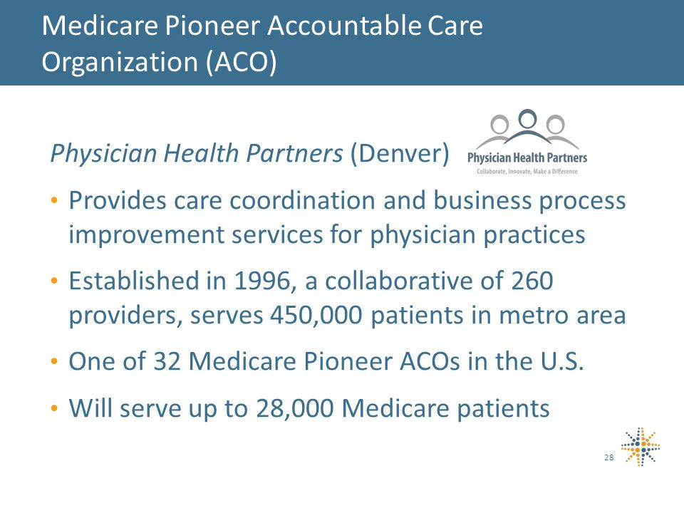 Physician Health Partners (Denver) Provides care coordination and business process improvement services for physician practices Established in 1996, a collaborative of 260 providers, serves 450,000 patients in metro area One of 32 Medicare Pioneer ACOs in the U.S.