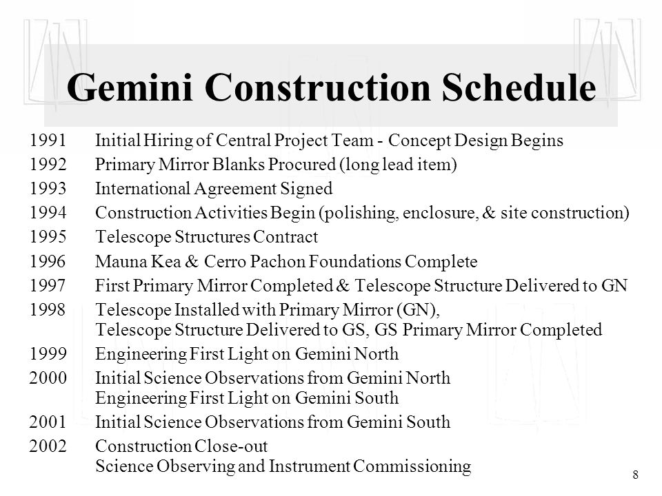 8 Gemini Construction Schedule 1991Initial Hiring of Central Project Team - Concept Design Begins 1992Primary Mirror Blanks Procured (long lead item) 1993International Agreement Signed 1994Construction Activities Begin (polishing, enclosure, & site construction) 1995Telescope Structures Contract 1996 Mauna Kea & Cerro Pachon Foundations Complete 1997 First Primary Mirror Completed & Telescope Structure Delivered to GN 1998 Telescope Installed with Primary Mirror (GN), Telescope Structure Delivered to GS, GS Primary Mirror Completed 1999 Engineering First Light on Gemini North 2000Initial Science Observations from Gemini North Engineering First Light on Gemini South 2001Initial Science Observations from Gemini South 2002Construction Close-out Science Observing and Instrument Commissioning