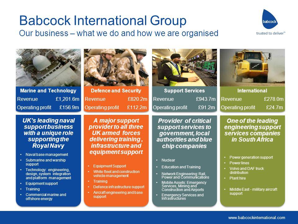 www.babcockinternational.com Support Services Revenue £943.7m Operating profit £91.2m Support Services Revenue £943.7m Operating profit £91.2m Marine