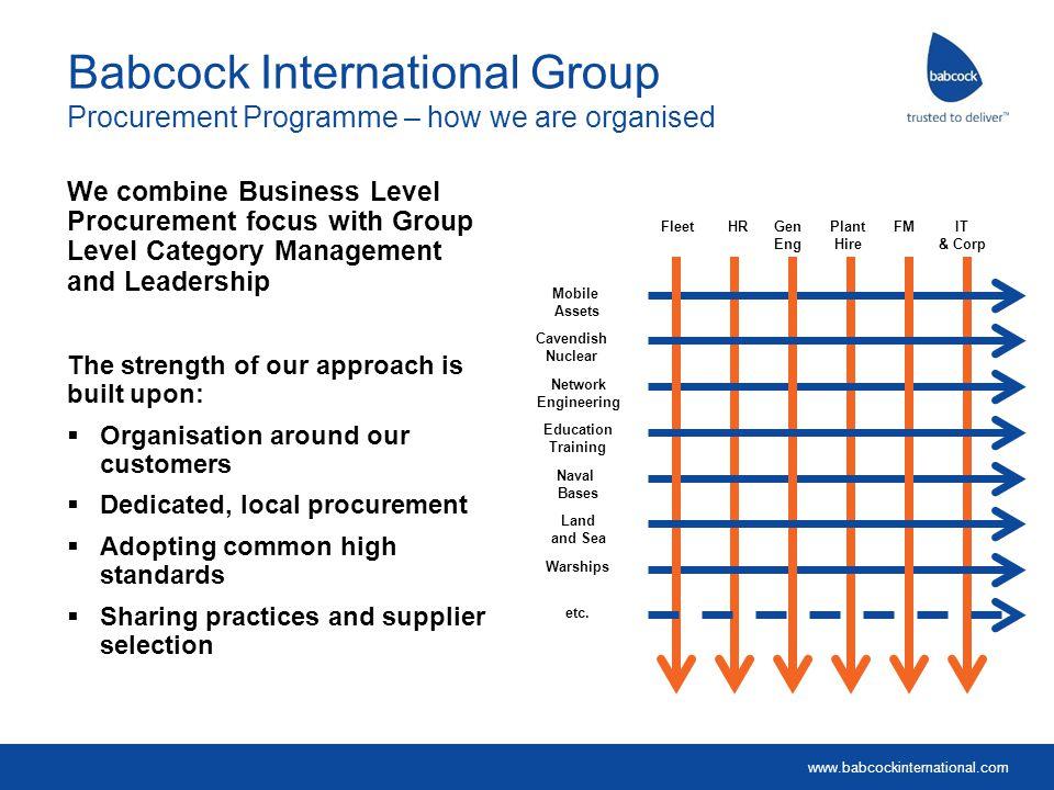 www.babcockinternational.com Babcock International Group Procurement Programme – how we are organised We combine Business Level Procurement focus with