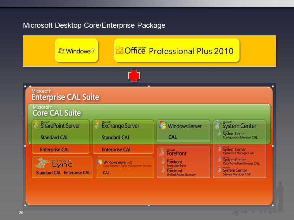  26 Microsoft Desktop Core/Enterprise Package Professional Plus 2010