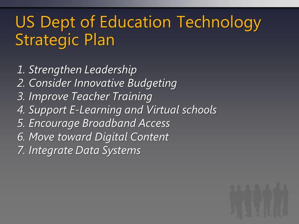 US Dept of Education Technology Strategic Plan 1. Strengthen Leadership 2.