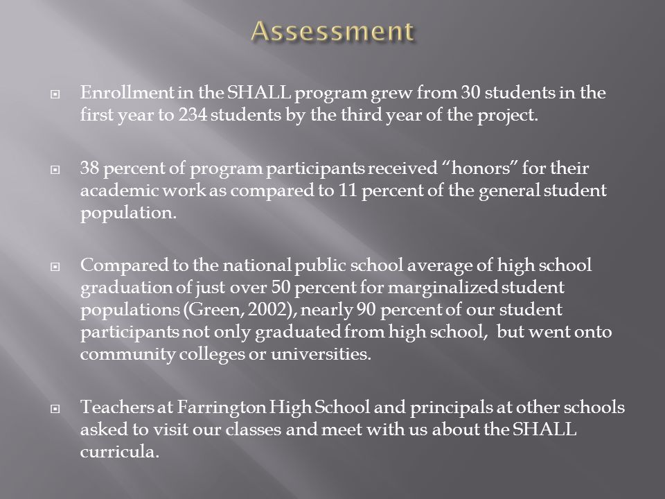  Enrollment in the SHALL program grew from 30 students in the first year to 234 students by the third year of the project.