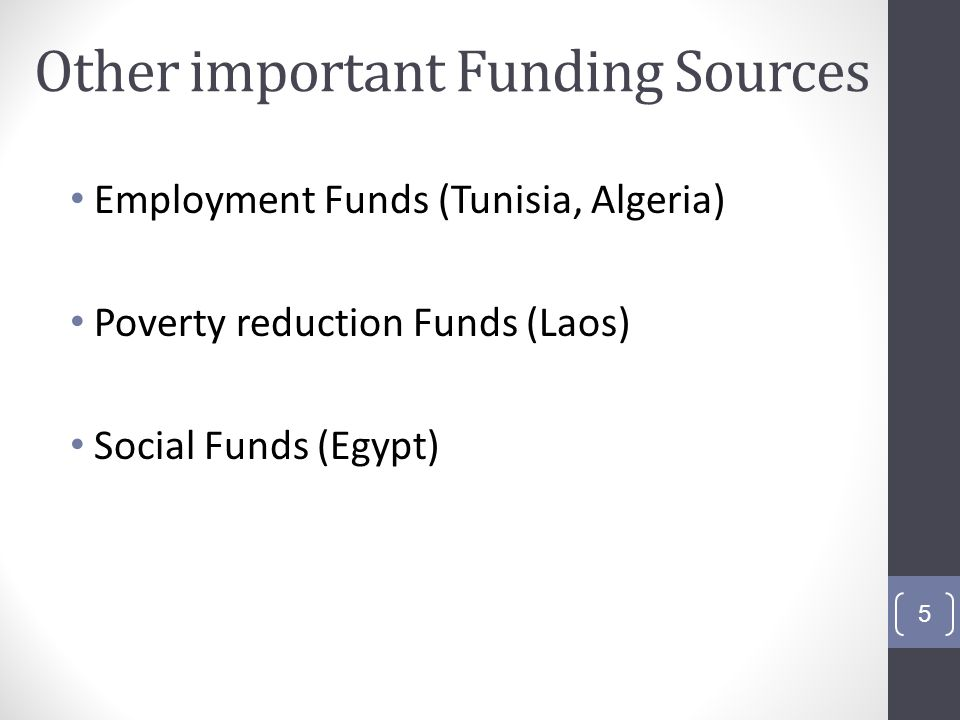 Other important Funding Sources Employment Funds (Tunisia, Algeria) Poverty reduction Funds (Laos) Social Funds (Egypt) 5