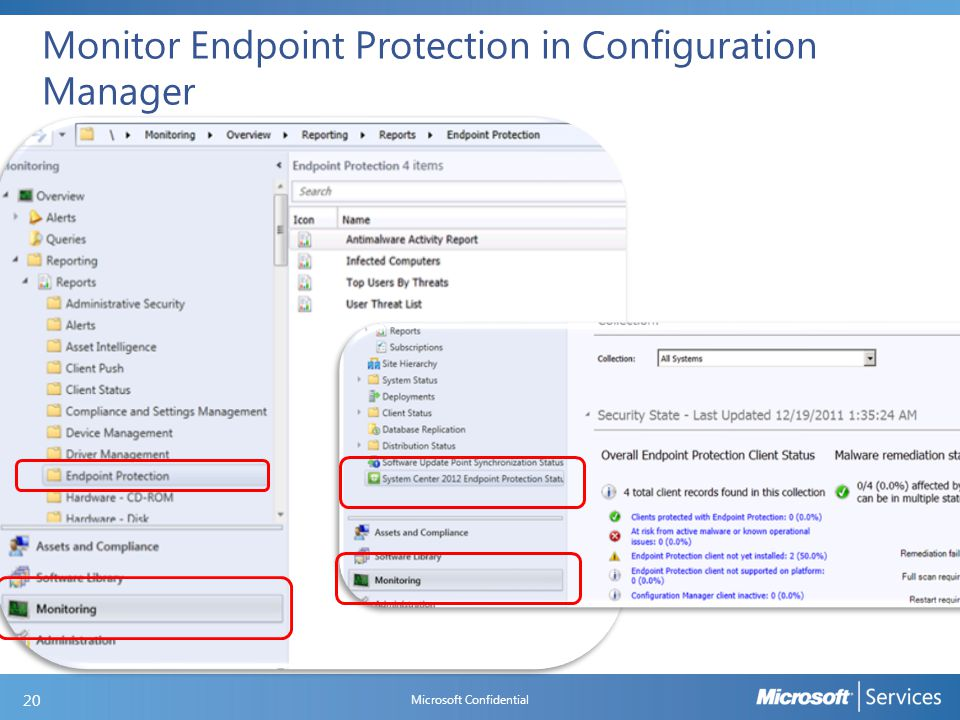 Monitor Endpoint Protection in Configuration Manager Microsoft Confidential 20