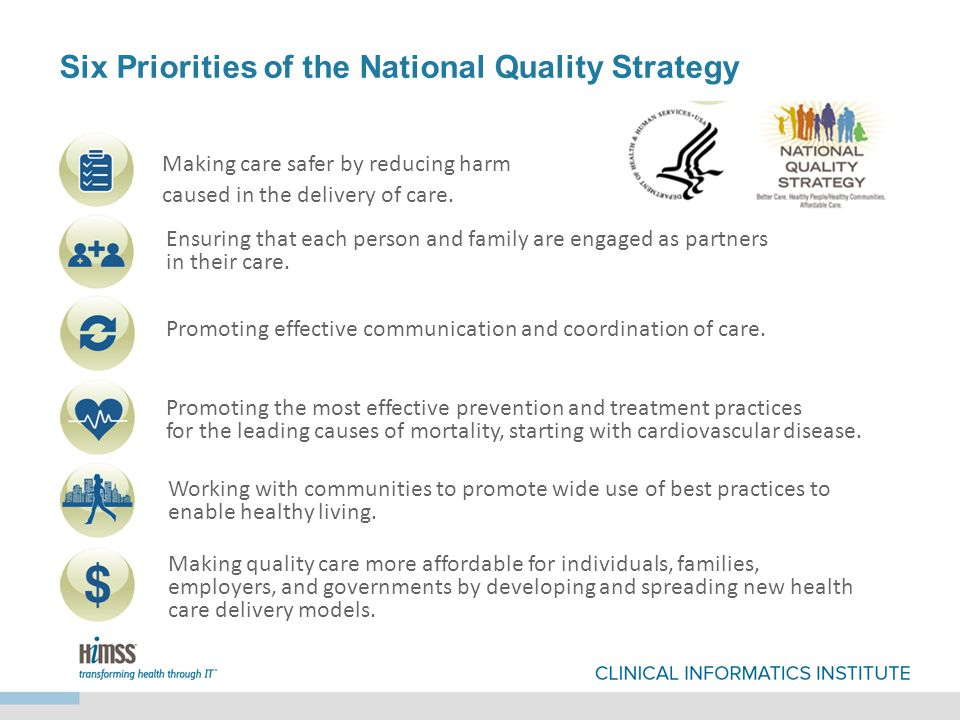Six Priorities of the National Quality Strategy Making care safer by reducing harm caused in the delivery of care.