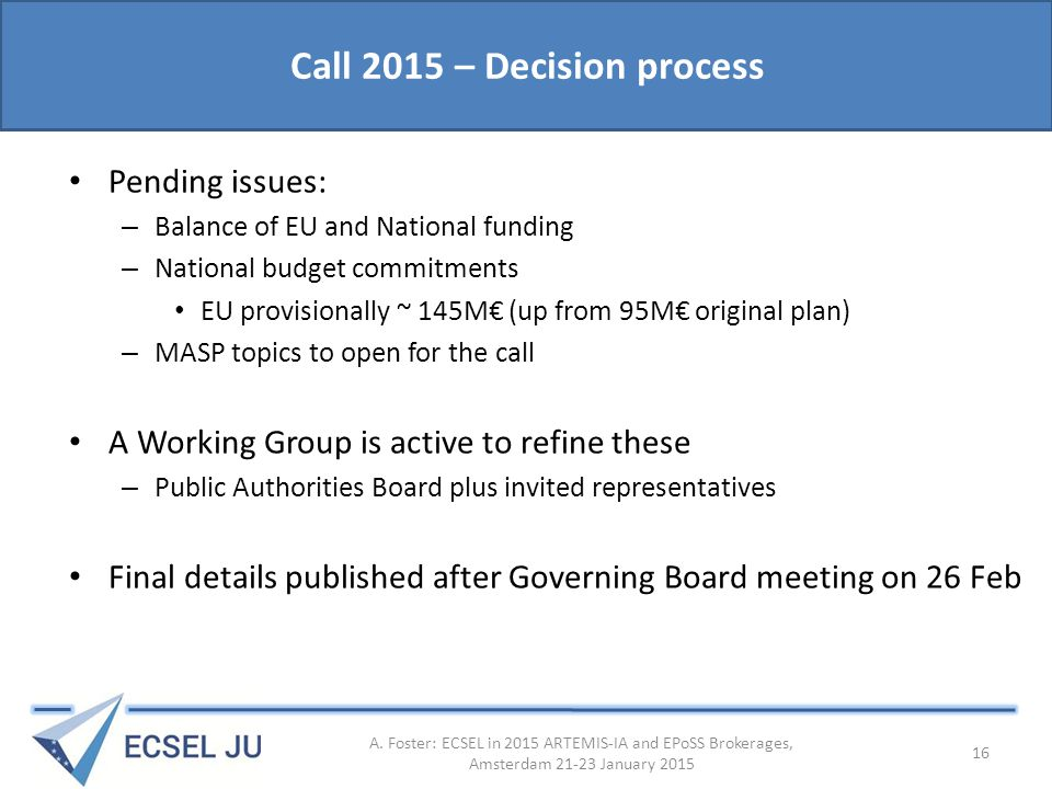 Call 2015 – Decision process Pending issues: – Balance of EU and National funding – National budget commitments EU provisionally ~ 145M€ (up from 95M€ original plan) – MASP topics to open for the call A Working Group is active to refine these – Public Authorities Board plus invited representatives Final details published after Governing Board meeting on 26 Feb A.