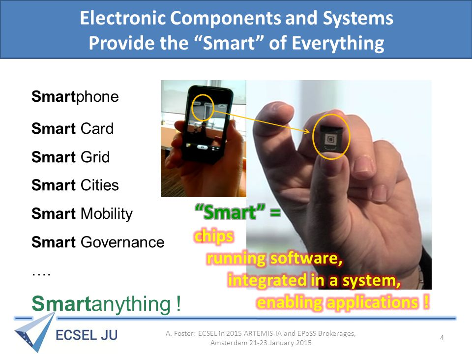Summary: ECSEL JU: – A European funding instrument for RD&I in electronics components and systems – Based on the Public-Private Partnership model Public sector plus Industry Associations – Using a tri-partite funding model National, EU and private sector funds – Complementing other funding instruments with a market-facing programme of high impact A.