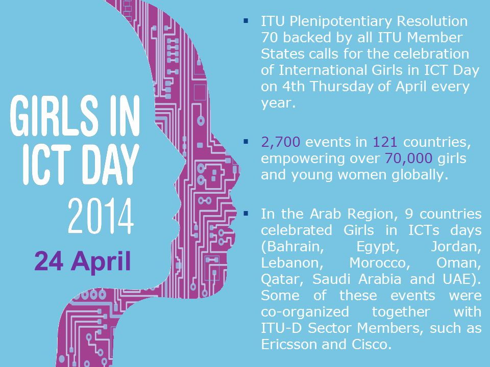 International Girls in ICT Day 24 April  ITU Plenipotentiary Resolution 70 backed by all ITU Member States calls for the celebration of International Girls in ICT Day on 4th Thursday of April every year.