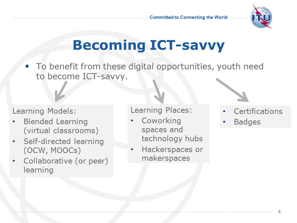 Committed to Connecting the World Becoming ICT-savvy  To benefit from these digital opportunities, youth need to become ICT-savvy. 6 Learning Models: