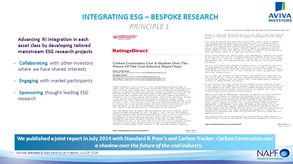 INTEGRATING ESG – BESPOKE RESEARCH PRINCIPLE 1 Advancing RI Integration in each asset class by developing tailored mainstream ESG research projects – Collaborating with other investors where we have shared interests – Engaging with market participants – Sponsoring thought leading ESG research We published a joint report in July 2014 with Standard & Poor's and Carbon Tracker: Carbon Constraints cast a shadow over the future of the coal industry.