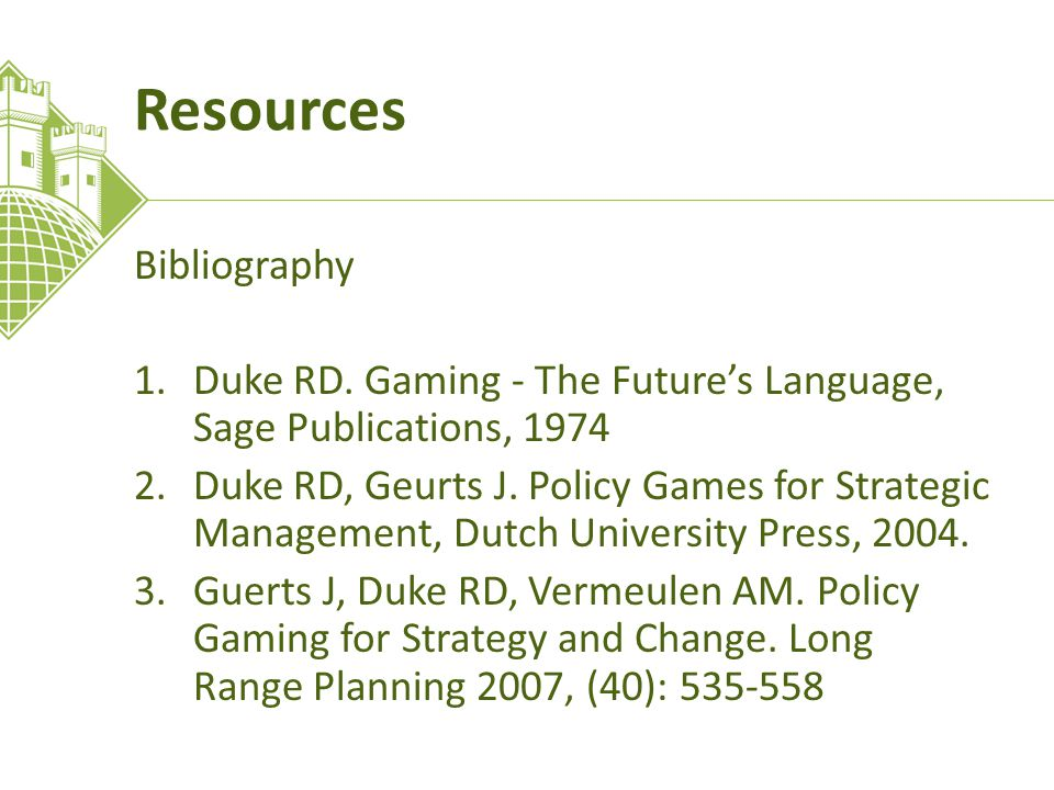 Resources Bibliography 1.Duke RD.