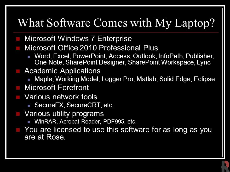 What Software Comes with My Laptop.