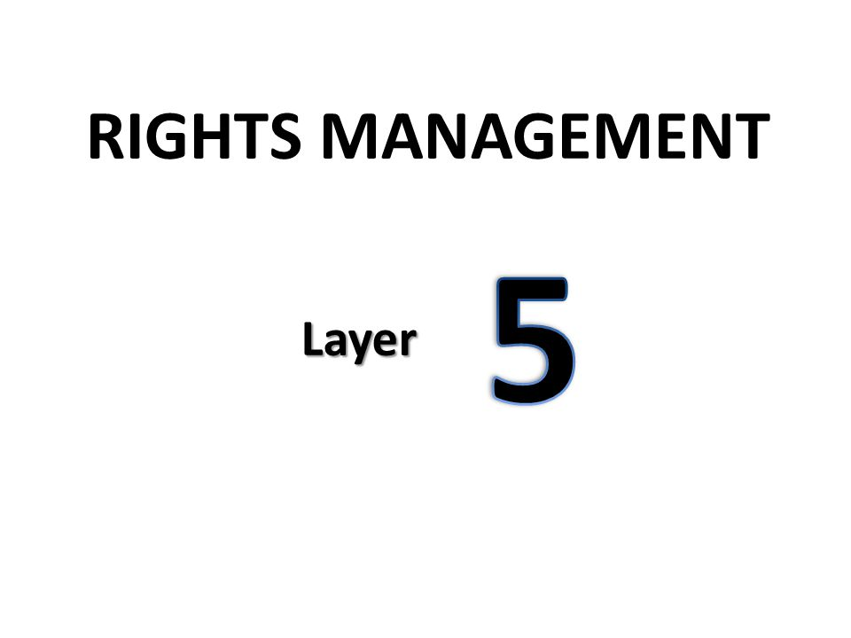 Layer 5: Rights Management Active Directory Rights Management Services (AD RMS) AD RMS is a form of Digital Rights Management (DRM) technology, used in various forms to protect content Used to restrict activities on files AFTER they have been accessed: – Cut/Paste – Print – Save As… Directly integrates with SharePoint DocLibs
