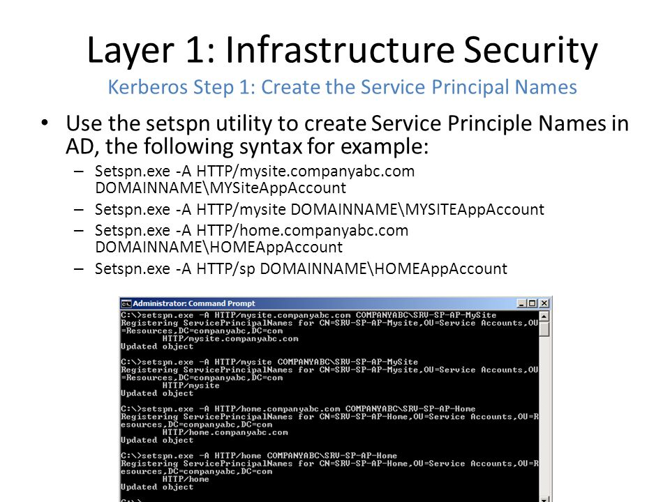 Layer 1: Infrastructure Security Kerberos Step 1: Create the Service Principal Names Use the setspn utility to create Service Principle Names in AD, the following syntax for example: – Setspn.exe -A HTTP/mysite.companyabc.com DOMAINNAME\MYSiteAppAccount – Setspn.exe -A HTTP/mysite DOMAINNAME\MYSITEAppAccount – Setspn.exe -A HTTP/home.companyabc.com DOMAINNAME\HOMEAppAccount – Setspn.exe -A HTTP/sp DOMAINNAME\HOMEAppAccount