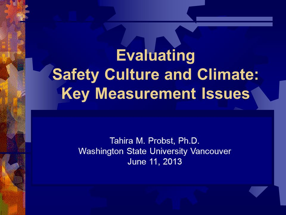 Evaluating Safety Culture and Climate: Key Measurement Issues Tahira M.