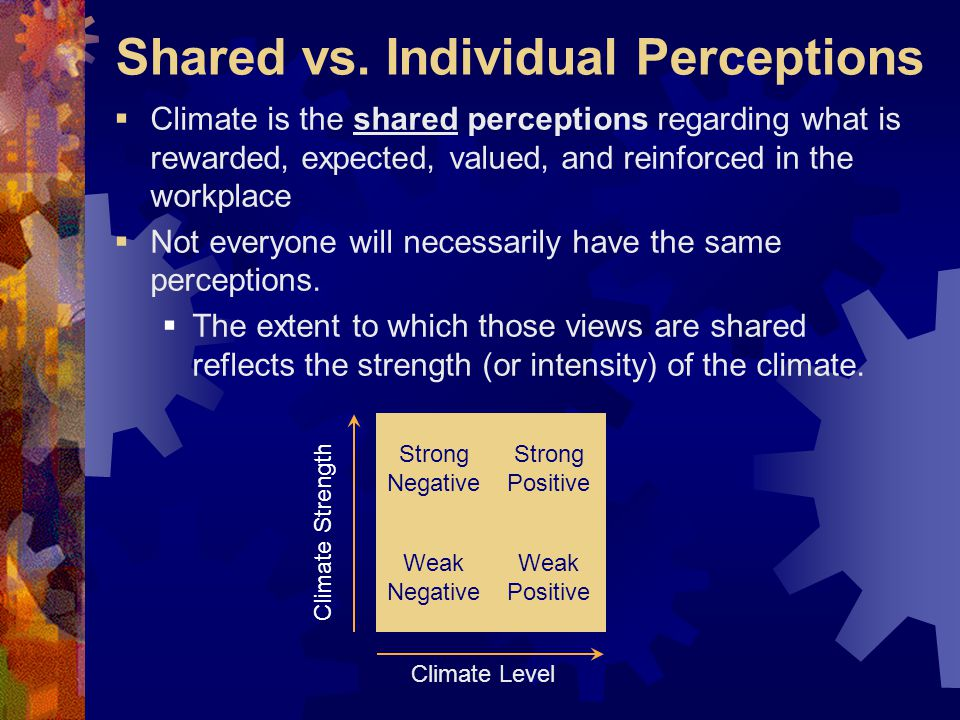 Shared vs. Individual Perceptions  Climate is the shared perceptions regarding what is rewarded, expected, valued, and reinforced in the workplace 