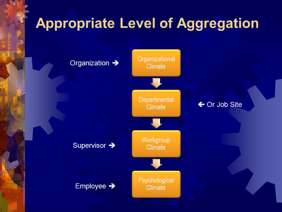 Appropriate Level of Aggregation Organizational Climate Departmental Climate Workgroup Climate Psychological Climate Organization  Supervisor  Employee   Or Job Site