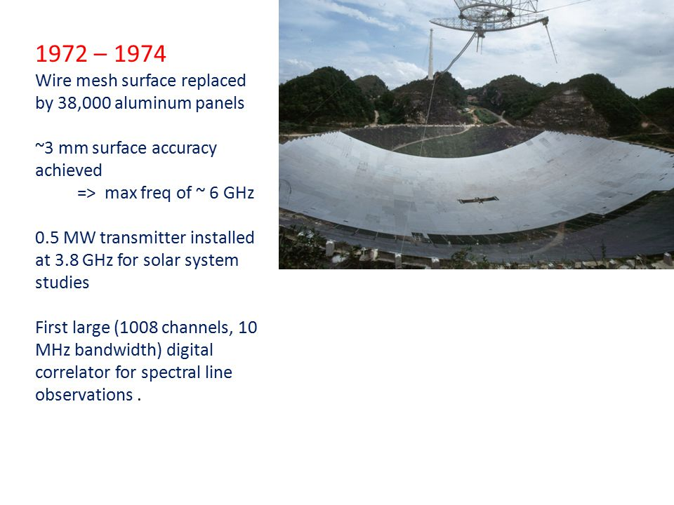 1972 – 1974 Wire mesh surface replaced by 38,000 aluminum panels ~3 mm surface accuracy achieved => max freq of ~ 6 GHz 0.5 MW transmitter installed at 3.8 GHz for solar system studies First large (1008 channels, 10 MHz bandwidth) digital correlator for spectral line observations.